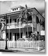 Old Historic Wooden Two Storey Building With White Picket Fence Key West Florida Usa Metal Print by Joe Fox