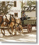 Old Horse Drawn Wagon At Fort Edmonton Park Metal Print