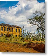 Old House And Cows Metal Print