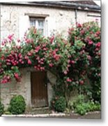Old House Covered With Roses Metal Print