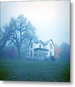 Old House In Fog Metal Print