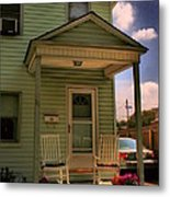 Old Houses - New Jersey - In The Oranges - Green House With Flower Pots And Rocking Chairs - Color Metal Print
