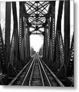 Old Huron River Rxr Bridge Black And White  Metal Print