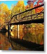 Historic Harvey Bridge Over Manistee River In Wexford County Michigan Metal Print