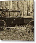 Old Jalopy Behind The Barn Metal Print
