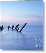 Old Jetty Posts At Sunrise Metal Print