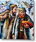 Old Jews And A Rooster  Metal Print