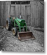 Old Tractor By The Barn Etna New Hampshire Metal Print