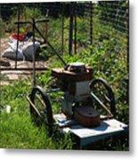 Vintage Lawn Mower Metal Print