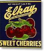 Cherries Antique Food Package Label Metal Print