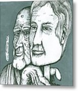 Old Man Behind A Young Mans Face Metal Print by Richie Montgomery