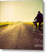 Old Man Riding A Bike To Sunny Sunset Sky Metal Print