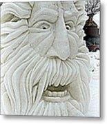 Old Man Winter Snow Sculpture Metal Print