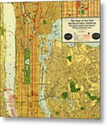 Old Map Of New York Central Railroad Manhattan Map 1918 Metal Print