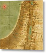 Old Map Of The Holy Land Metal Print