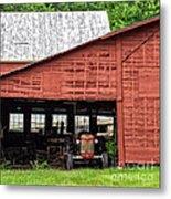 Old Massey Ferguson Red Tractor In Barn Metal Print
