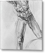 Old Masters Study Nude Man By Annibale Carracci Metal Print