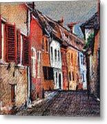 Old Medieval Street In Sighisoara Citadel Romania Metal Print