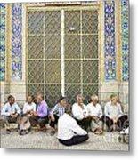 Old Men Socializing In Yazd Iran Metal Print