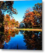 Old Mill House Pond In Autumn Fine Art Photograph Print With Vibrant Fall Colors Metal Print
