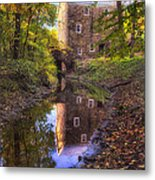 Old Mill Reflected In A Creek Metal Print
