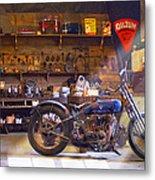 Old Motorcycle Shop 2 Metal Print