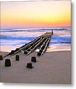 Old Ocean Pier At Dawn Metal Print