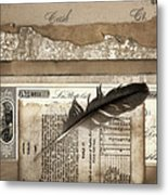 Old Papers And A Feather Metal Print by Carol Leigh