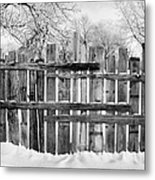 old patched up wooden fence using old bits of wood in snow Forget Saskatchewan Canada Metal Print by Joe Fox