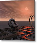 Old Pier And Sculptures Metal Print