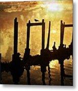 Old Pier At Sunset Metal Print