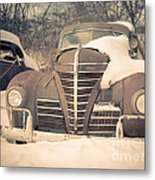Old Plymouth Classic Car In The Snow Metal Print