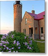 Old Point Mackinac Lighthouse And Lilacs Metal Print