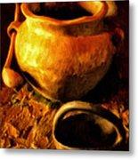 Old Pot And Ladle Metal Print