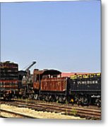 Old Railroad Cars From The Series View Of An Old Railroad Metal Print