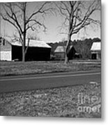 Old Red Barn In Black And White Metal Print