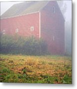 Old Red Barn In Fog Metal Print