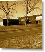 Old Red Barn In Sepia Metal Print