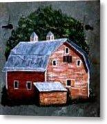 Old Red Barn On Slate Metal Print