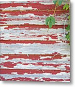 Old Red Barn With Peeling Paint And Vines Metal Print