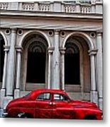 Old Red Car In Havana Metal Print