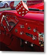 Old Red Chevy Dash Metal Print