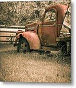 Old Red Farm Truck Metal Print
