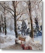 Old Red Playing In The Snow  Metal Print