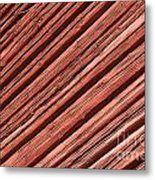 Old Red Wooden Wall In Sunlight Metal Print
