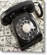 Old Rotary Phone On Money Background Metal Print