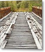 Old Rotten Abandoned Bridge Leading To Nowhere Metal Print