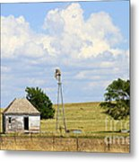 Old Rush County Farmhouse With Windmill Metal Print