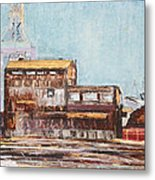 Old Rustic Schnitzer Steel Building With Crane And Ship Metal Print by Asha Carolyn Young