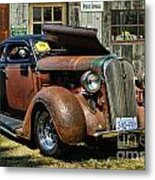 Old Rusty Car At The Old Shop  Ca5083a-14 Metal Print